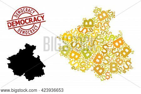 Grunge Democracy Seal, And Finance Mosaic Map Of Altai Republic. Red Round Seal Contains Democracy T