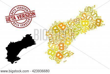 Textured Beta Version Stamp Seal, And Bank Collage Map Of Tarragona Province. Red Round Stamp Seal I