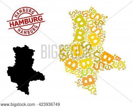 Grunge Hamburg Seal, And Bank Mosaic Map Of Saxony-anhalt State. Red Round Seal Contains Hamburg Cap