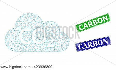 Network Carbon Dioxide Cloud Image, And Carbon Blue And Green Rectangle Textured Stamp Seals. Mesh C