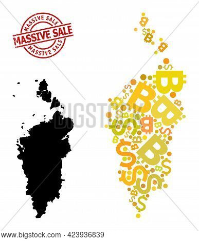 Distress Massive Sale Seal, And Currency Mosaic Map Of Krasnoyarskiy Kray. Red Round Seal Has Massiv