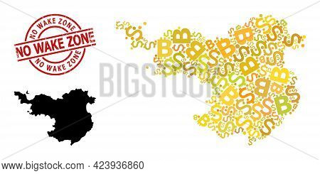 Textured No Wake Zone Stamp, And Money Mosaic Map Of Gerona Province. Red Round Stamp Seal Includes