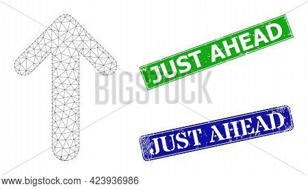Network Arrow Up Image, And Just Ahead Blue And Green Rectangular Dirty Stamps. Mesh Carcass Symbol