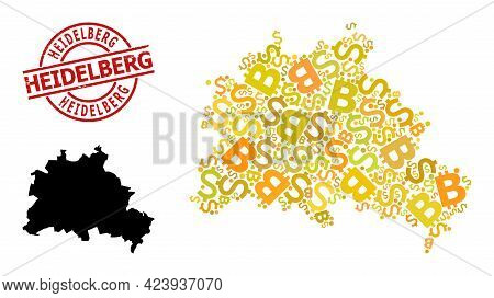 Distress Heidelberg Badge, And Finance Collage Map Of Berlin City. Red Round Stamp Seal Contains Hei