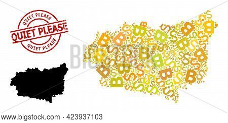 Rubber Quiet Please Stamp Seal, And Finance Collage Map Of Leon Province. Red Round Seal Contains Qu