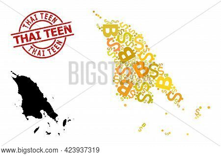 Grunge Thai Teen Stamp Seal, And Currency Collage Map Of Koh Chang. Red Round Stamp Seal Has Thai Te