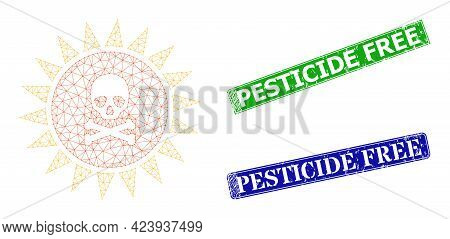 Mesh Death Sun Radiation Image, And Pesticide Free Blue And Green Rectangular Rubber Stamp Seals. Me