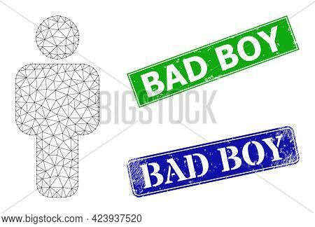 Triangular Person Image, And Bad Boy Blue And Green Rectangular Scratched Seal Prints. Mesh Wirefram