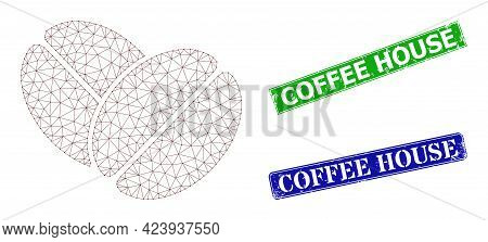 Triangular Cacao Beans Model, And Coffee House Blue And Green Rectangular Dirty Watermarks. Mesh Car