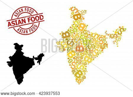 Rubber Asian Food Stamp, And Finance Collage Map Of India. Red Round Stamp Has Asian Food Text Insid