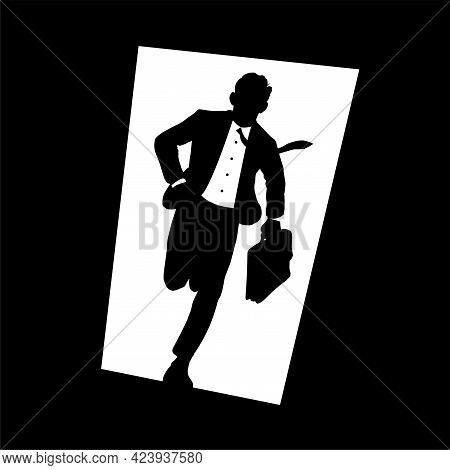 A Young Businessman In A Tie And With A Briefcase In Hand Is In A Hurry. Runs At Speed Through An Op