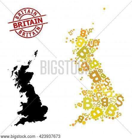 Distress Britain Seal, And Financial Mosaic Map Of Great Britain. Red Round Stamp Seal Has Britain T