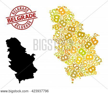 Distress Belgrade Badge, And Currency Mosaic Map Of Serbia. Red Round Badge Contains Belgrade Captio
