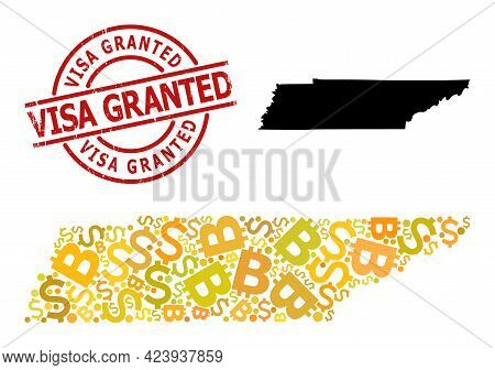 Rubber Visa Granted Seal, And Money Mosaic Map Of Tennessee State. Red Round Stamp Seal Has Visa Gra