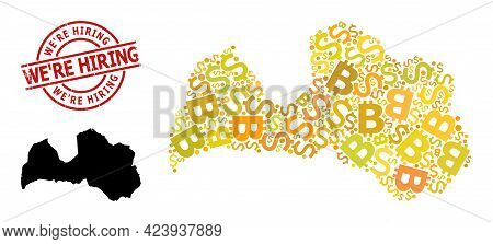 Textured Were Hiring Stamp Seal, And Currency Mosaic Map Of Latvia. Red Round Stamp Seal Includes We