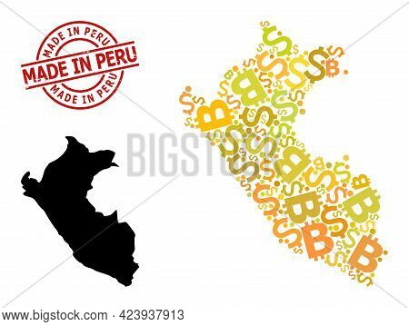Scratched Made In Peru Stamp Seal, And Bank Mosaic Map Of Peru. Red Round Stamp Seal Has Made In Per