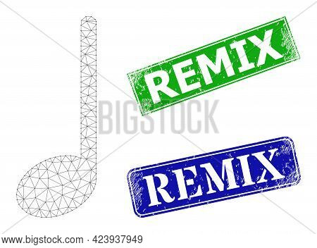 Mesh Musical Note Model, And Remix Blue And Green Rectangular Dirty Stamp Seals. Mesh Carcass Illust