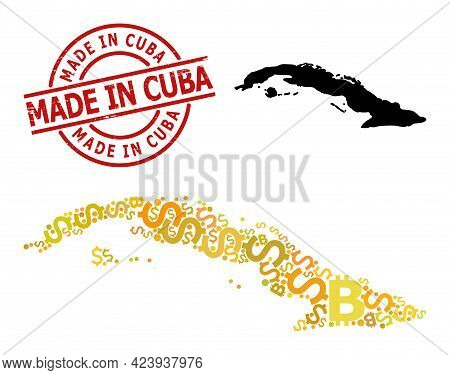 Distress Made In Cuba Stamp, And Financial Collage Map Of Cuba. Red Round Stamp Includes Made In Cub