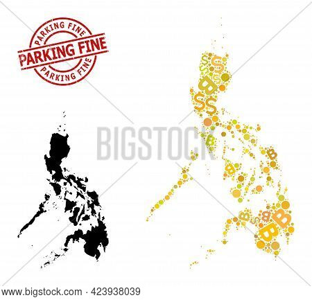 Textured Parking Fine Seal, And Finance Mosaic Map Of Philippines. Red Round Stamp Contains Parking