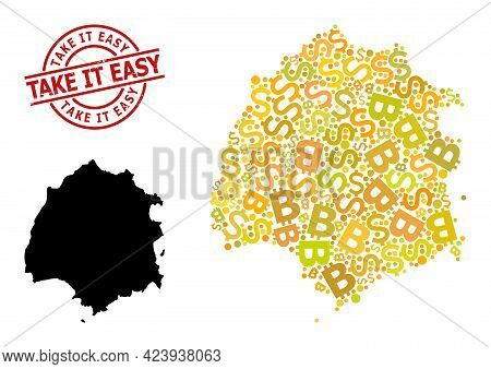 Rubber Take It Easy Stamp Seal, And Banking Mosaic Map Of Thassos Island. Red Round Stamp Seal Inclu