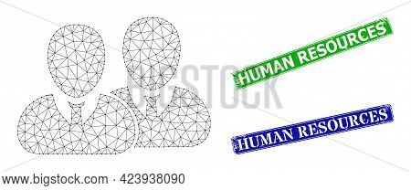 Mesh Users Image, And Human Resources Blue And Green Rectangle Rubber Seal Prints. Mesh Wireframe Im