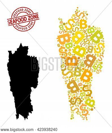 Textured Seafood Zone Stamp Seal, And Money Collage Map Of Mizoram State. Red Round Stamp Seal Conta