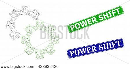 Polygonal Gears Image, And Power Shift Blue And Green Rectangle Corroded Seal Imitations. Polygonal