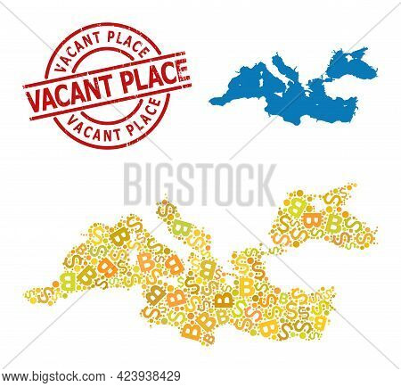 Textured Vacant Place Stamp Seal, And Bank Mosaic Map Of Mediterranean Sea. Red Round Stamp Seal Has
