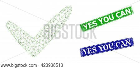 Mesh Yes Image, And Yes You Can Blue And Green Rectangular Grunge Seals. Polygonal Carcass Image Is