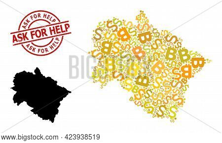 Textured Ask For Help Stamp Seal, And Currency Collage Map Of Uttarakhand State. Red Round Stamp Con