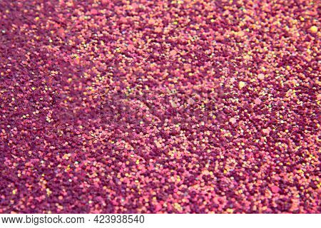 Abstract Pink Bright Background With Multicolored Sparkles. Festive Concept. Flat Lay