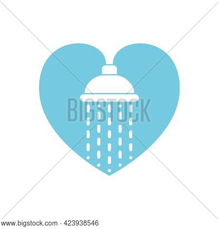 Shower Head With Trickles Of Water. Sign Shower In The Shape Heart Isolated On White Background. Sho