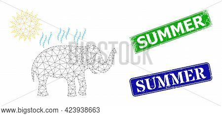 Polygonal Elephant Under Sun Heat Image, And Summer Blue And Green Rectangular Scratched Stamps. Pol