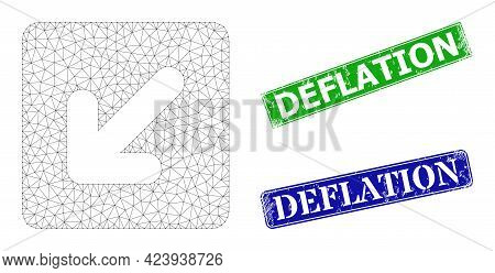 Mesh Left Down Direction Model, And Deflation Blue And Green Rectangular Dirty Stamp Seals. Polygona