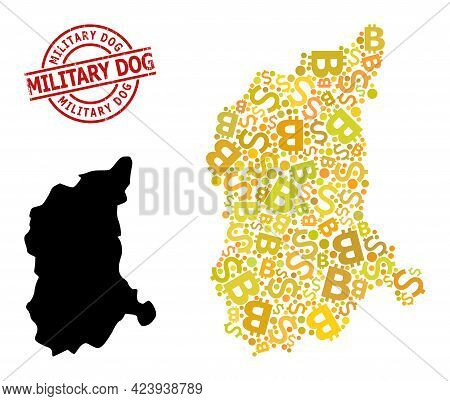 Distress Military Dog Stamp Seal, And Banking Collage Map Of Lubusz Province. Red Round Stamp Seal I