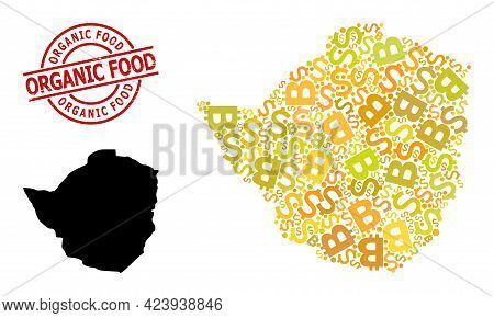 Textured Organic Food Stamp, And Financial Collage Map Of Zimbabwe. Red Round Stamp Seal Has Organic