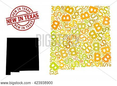 Rubber New In Texas Stamp Seal, And Financial Mosaic Map Of New Mexico State. Red Round Stamp Seal I