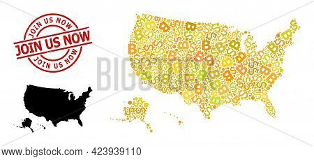 Distress Join Us Now Stamp Seal, And Bank Collage Map Of Usa Territories. Red Round Stamp Seal Inclu