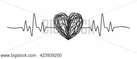 Tangled Grungy Heartbeat Hand Drawn Scribble Isolated On White Background