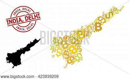 Rubber India, Delhi Badge, And Finance Mosaic Map Of Andhra Pradesh State. Red Round Badge Includes