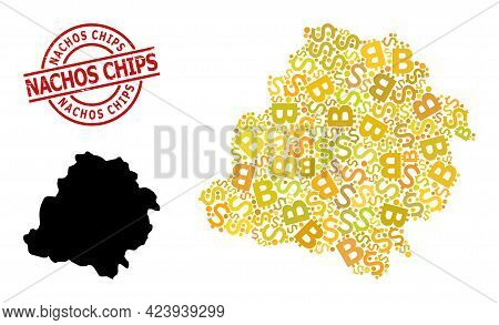 Grunge Nachos Chips Stamp Seal, And Finance Collage Map Of Lodz Province. Red Round Stamp Contains N