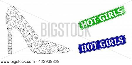 Mesh High Heel Lady Shoe Image, And Hot Girls Blue And Green Rectangle Grunge Stamp Seals. Mesh Carc