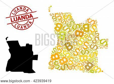 Grunge Luanda Badge, And Money Collage Map Of Angola. Red Round Badge Includes Luanda Title Inside C