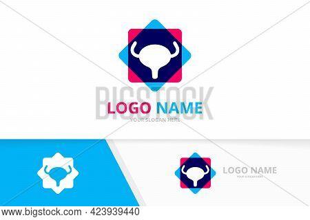 Human Bladder Vector Logo. Urinary Tract Logotype Design Template.