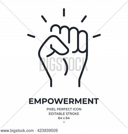Empowerment Concept Editable Stroke Outline Icon Isolated On White Background Flat Vector Illustrati