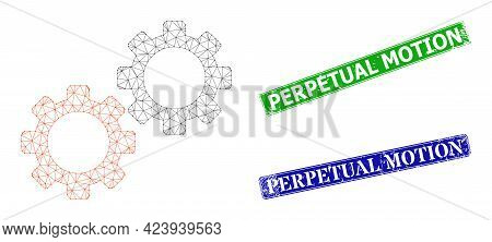 Triangular Gear Mechanics Image, And Perpetual Motion Blue And Green Rectangular Textured Stamp Seal