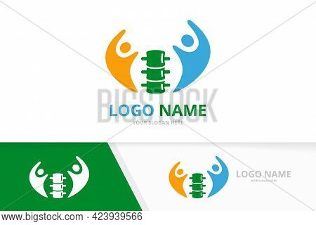 Spine And People Logo Combination. Vertebral Column And Family Logotype Design Template.