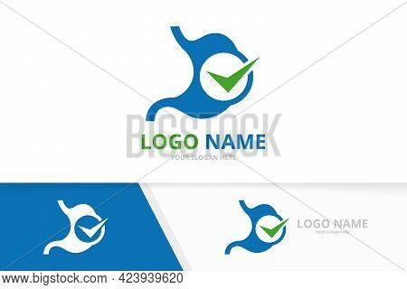 Vector Stomach And Check Mark Logo Combination. Unique Gastrointestinal Tract And Tick Logotype Desi