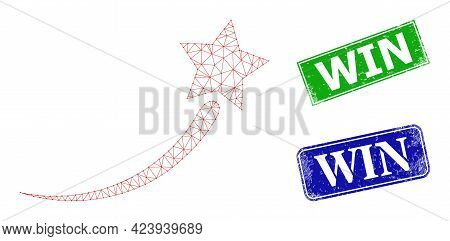 Polygonal Success Start Star Image, And Win Blue And Green Rectangle Rubber Seal Prints. Polygonal W