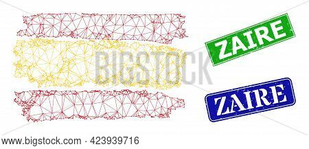 Mesh Spain Flag Image, And Zaire Blue And Green Rectangular Grunge Watermarks. Mesh Wireframe Image